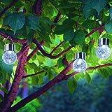 3PACK Crackle Glass Globe Solar Lights With Hanger Sogrand Solar Pathway Light Solar Globe Lights Gazebo Lights