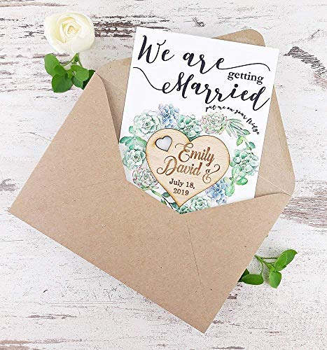 Succulent Save The Date Card, Heart Wedding Save The Date Magnet, Rustic Save The Date Card, Wood Save The Date, Rustic Magnet - SET OF 20