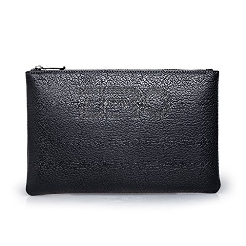 ZRO Men's Genuine Leather Clutch Bag Card Cash Holder Handbag Wallet Small Black by ZRO