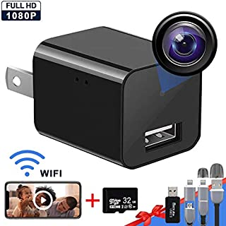 Hidden Camera Wireless with Remote Viewing Motion Detection, USB Charger WiFi Camera1080P HD Nanny Camera with 32GB SD Card, Support iOS/Android