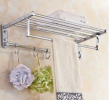 Doblado con gancho toalla estante acero inoxidable toalla estante actividades gira Toallero repisa con toallero colgador,B: Amazon.es: Hogar