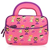 Evecase 7-8 inch Kid Tablet Sleeve Cute Fairy Tale Princess Themed Neoprene Carrying Sleeve Case Bag With Dual Handle and Accessory Pocket - Pink & Purple Trim