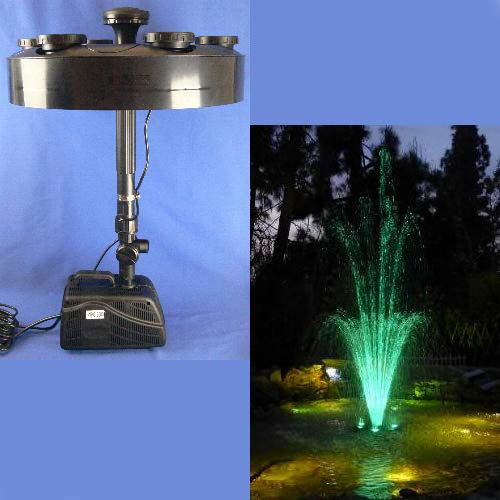 Wiedamark LED Color Changing Fountain Ring Pump and & Pipe/Nozzle Kit for Shallow Ponds
