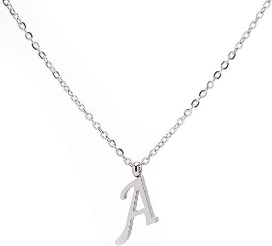 Silver Plated Personalised Initial Letter Chain Necklace *Buy 2 get 1 free* Name