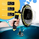 TELESIN Gopro Dome Port Underwater 6 inches GoPro Diving Dome Port with Waterproof Cover Case + Floating Bobber Handle + Trigger for GoPro 7/6/5 Black