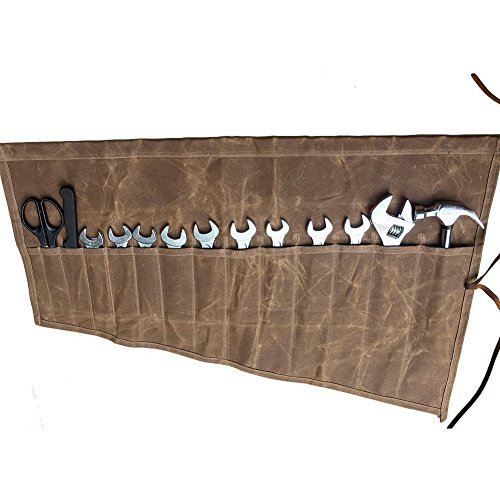 Large Wrench Roll, Heavy Duty Canvas Tool Roll Pouch, Chefs Knife Roll, Rolling Tool Bag GJB011-brown