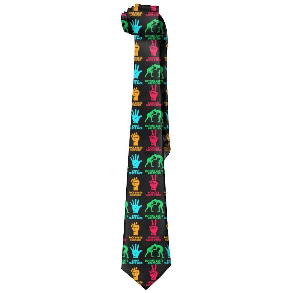 Clarissa Bertha Rock Paper Nothing Beats Wrestling Mens Polyester Silk Tie Neckties Neck Ties by Clarissa Bertha