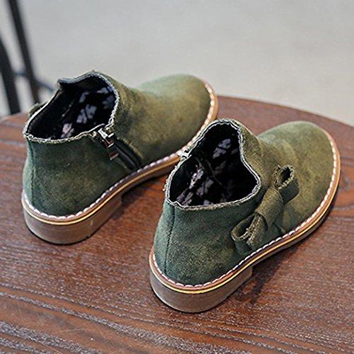 TPulling Mode Junge Und Mädchen Martin Stiefel Herbst Und Winter Kinder Beugen Martin Stiefel Lässige Schuhe Grün