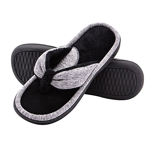 Wishcotton Women's Adjustable Memory Foam Spa Thong House Shoes Fluffy Flip Flop Slippers (L, Grey) by Wishcotton