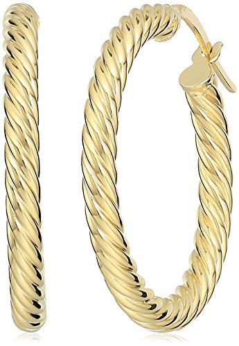 14k Gold Rope Hoop Earrings - 14k Yellow Gold 3x25MM Rope Twist Hoop Earrings
