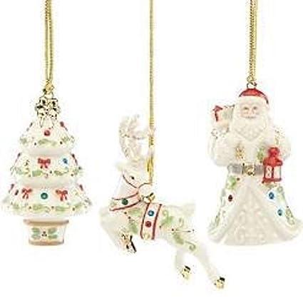 Lenox Christmas.Amazon Com Lenox Christmas Holiday Gemmed 3 Piece Ornament