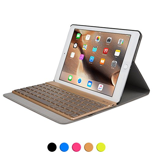 iPad Pro 9.7 keyboard case, COOPER AURORA FOLIO 7 Backlight Color Bluetooth Wireless Rechargeable Detachable Backlit Keyboard Carrying Case Cover Folio with Stand for Apple iPad Pro 9.7 (Combo Lite Combination Clamp)