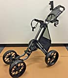 CaddyTek 4-Wheel Golf Push Cart with One-Click EZ Folding and Unfolding plus Bonus Mesh Net Basket (Black)