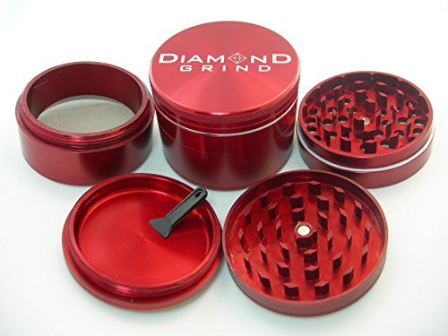 Diamond Grind Deluxe 4 Piece Herb Grinder (Red, Extra Large) (Extra Large Grinder compare prices)