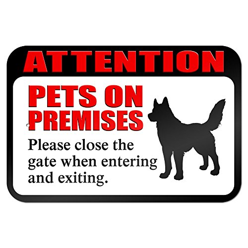 """Wholesale Attention Pets on Premises Please Close Gate When Entering and Exiting 9"""" x 6"""" Metal Sign for sale"""