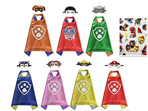 YL Paw Patrol Set of 7 Cape & Mask Cosplay Kids Costume Party ()
