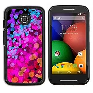 Caucho caso de Shell duro de la cubierta de accesorios de protección BY RAYDREAMMM - Motorola Moto E - Luces de color rosa púrpura vibrante brillante