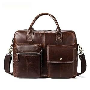 Men's Accessories Mens Messenger Bag Multi-Functional Leather Briefcase Large Satchel Shoulder Handbag for 13 Inch Laptop Notebook Computer Tablet Outdoor Recreation (Color : Brown)