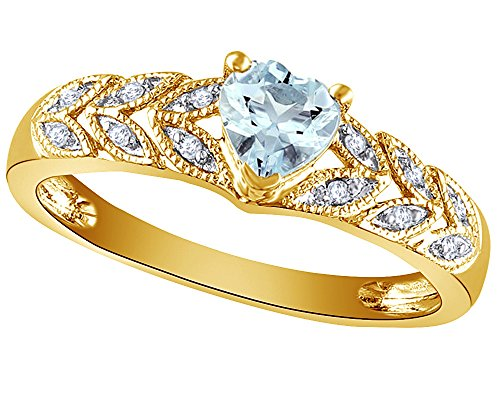 Wishrocks Simulated Heart Cut Aquamarine & 1/20 CT Diamond Leaf Shank Promise Ring in 14k Yellow Gold Over Sterling Silver (Diamond Aquamarine Heart Ring)