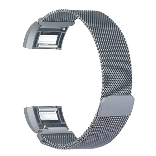 bayite Milanese Loop Bands Compatible Fitbit Charge 2, Stainless Steel Magnet Lock Metal, Smoke Gray Small