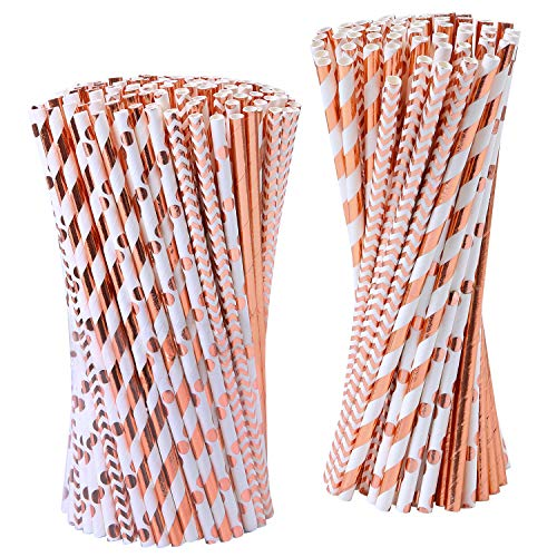 Picnic Rose - Cooraby 200 Pieces Rose Gold Paper Straws Disposable Paper Drinking Straws Biodegradable Foil Rose Gold Striped and Solid Paper Straws for Party Wedding Celebrations Decorations, 4 Style (Rose Gold)