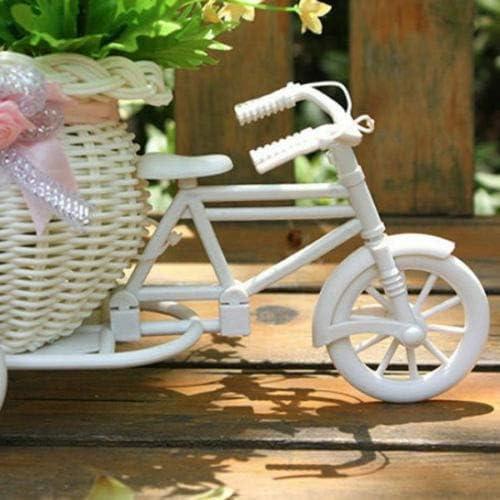 CFYRY 2019新しい自転車装飾フラワーバスケット最新プラスチックホワイト三輪車バイクデザインフラワーバスケットストレージパーティーデコレーションポット (Color : White)