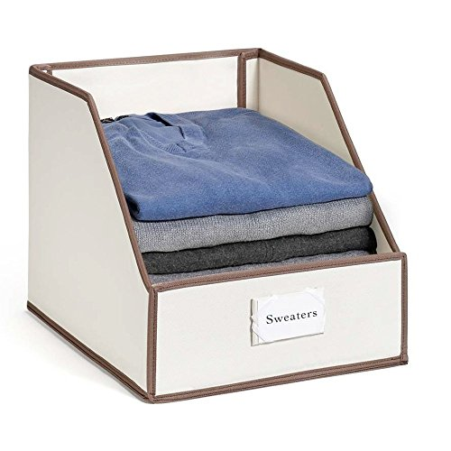 "Great Useful Stuff G.U.S ""Drop Front"" Closet Storage Bins: Organize Sweaters, Jeans and Shirts - Ivory with Chocolate/Brown Trim - Ivory Bins"
