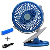 United States store Battery Operated Clip on Fan,Mini Desk Fan Portable Handheld Powered by Rechargeable Battery or USB,Small Personal Electric Fan for Baby Stroller Adjust 360 Degrees, Quietness Blue