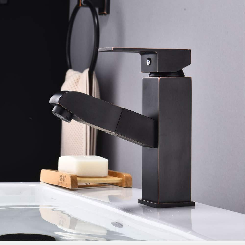 Faucet European Pull Basin Faucet Bathroom wash Basin hot and Cold Universal Faucet Black Bronze Brushed Faucet