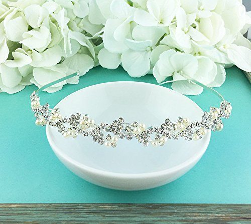 Bridal Rhinestone Crystal and Swarovski Pearl Wedding Headband