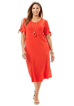 Jessica London Womens Plus Size Cold Shoulder Midi Dress At Amazon