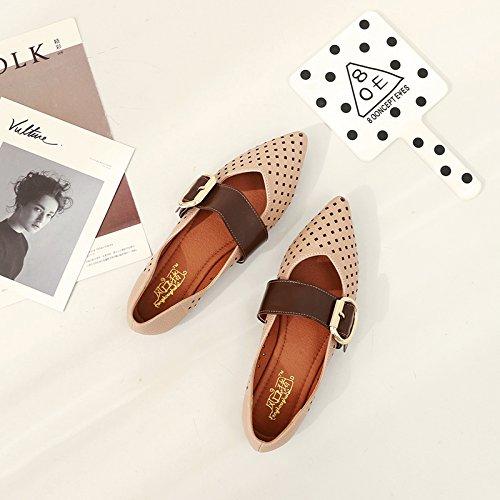 38 con la Sandalias Rosa Vacío de Agujero Zapatos Zapatos Femeninos Hembra Plano Lado acentuadas Corte Hueco Plano Qiqi Fondo Xue Zapatos qtZXowHq