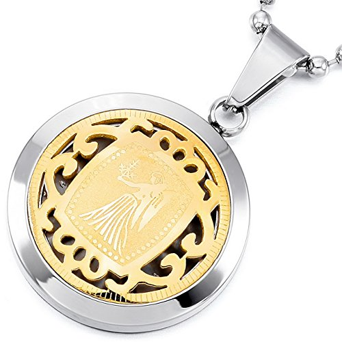 MeMeDIY Silver Gold Two Tone Stainless Steel Pendant Necklace Virgo Horoscope Zodiac (Virgo Zodiac Pendant Necklace)