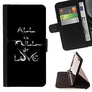 For Samsung Galaxy Note 3 III Case , Texto minimalista Cita del amor de humo- la tarjeta de Crédito Slots PU Funda de cuero Monedero caso cubierta de piel