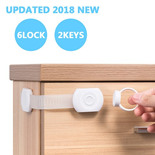 Carebaby CHILD LOCKS-(6-PACK) Multi-Purpose Baby Proof & Child Safety Lock   No Tools or Drilling Required   Super Strong 3M Adhesive Cabinet Lock by Carebaby (Image #4)