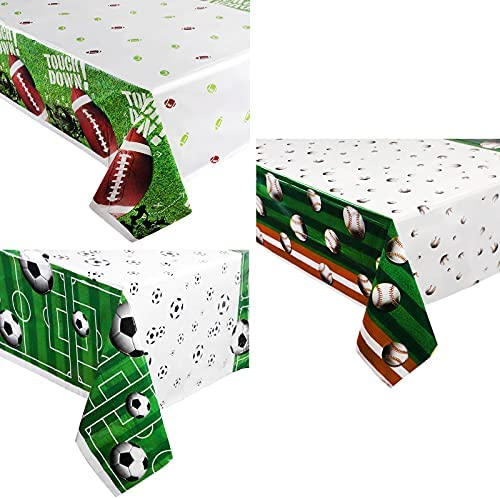 Peryiter 3 Pieces Soccer Ball Tablecloth Baseball Table Cover Football Table Cloth Sports Ball Plastic Tablecloth for Game Day Sports Theme Birthday Party Supplies Outdoor School Event Decorations