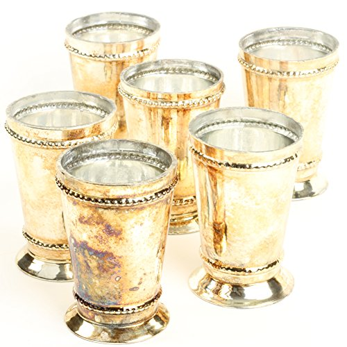 - Koyal Wholesale Glass Mint Julep Cup Vase, Bulk Set of 6, Centerpiece Vases, Mini Vase, Bud Vase Pilsner (Burnt Gold, 3