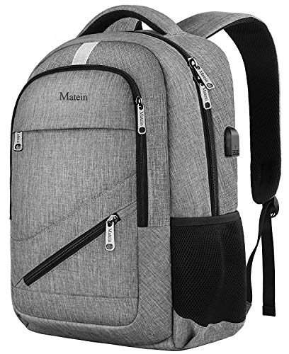 MATEIN NTE Backpack,Travel Laptop Backpack for Women Men,Durable High School Backpacks for Girls and Boys, Waterproof College Student Bookbag USB Charging Port Fit 15.6 Inch Laptop, Gray (Best Laptop For Junior High Student)