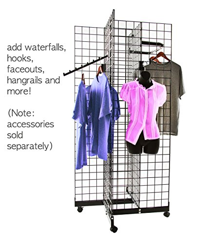 Only Hangers Black 4-Way Wire Grid Tower with Base and Casters - 2' x 6' Wire Grid Panel 4-Sided Rolling Display Rack by Only Hangers (Image #1)