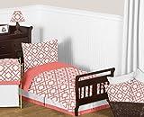 Sweet Jojo Designs Modern White and Coral Diamond Geometric Toddler Bed Bedding Girl Kids Childrens Comforter Sheet Set