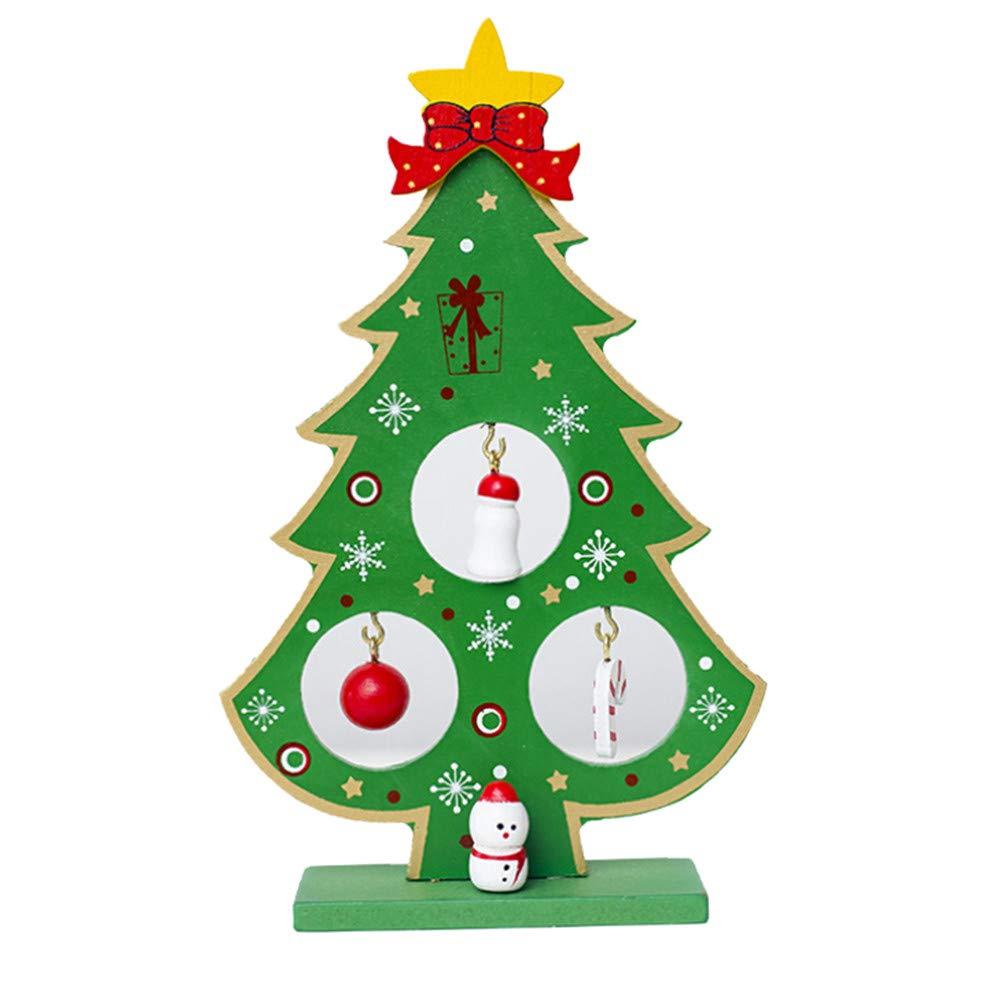 Feitengtd Christmas Tree Santa Claus Snowman Wooden Swing Decoration Decoration