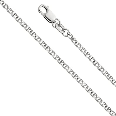 """14K Real White Gold 1.7mm Flat Open wheat Chain Necklace 22/"""" Inches for Women"""