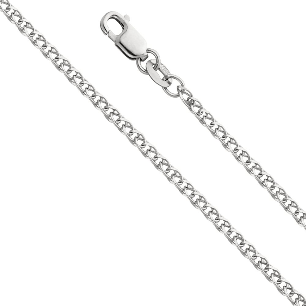 Wellingsale 14k White Gold SOLID 2mm Polished Flat Open Wheat Chain Necklace - 22''