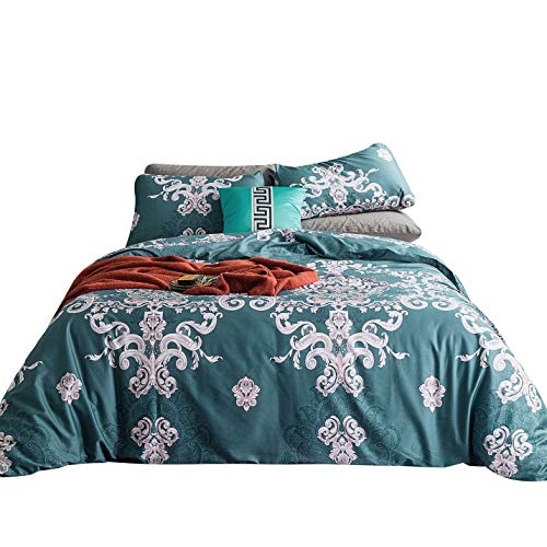- YuHeGuoJi 3 Pieces Duvet Cover Set 100% Egyptian Cotton King Size Vintage Damask Bedding Set 1 Paisley Pattern Duvet Cover with Ties 2 Pillowcases Luxurious Quality Ultra Soft Lightweight Breathable
