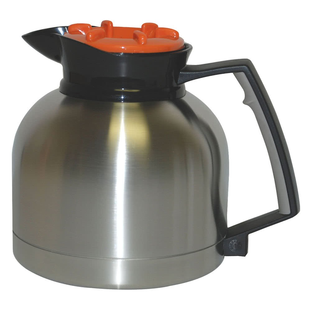 TableTop King SS-1.9 LD 64 oz. Stainless Steel Thermal Carafe with Orange Decaf Lid