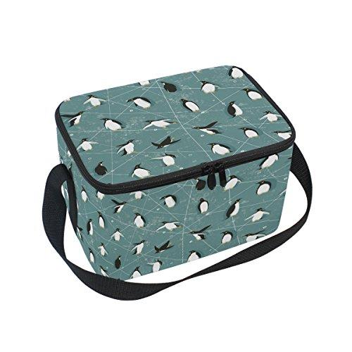 Alaza Skating Pingouin isotherme Sac à lunch box Cooler Sac fourre-tout réutilisable Sac extérieur Voyage Sac de pique-nique avec bandoulière pour femmes Hommes adultes enfants 10x7x6 inches Green