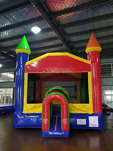 Rainbow Red, Yellow & Blue Bounce House with Tunnel Entrance, 14-Foot Long by 14-Foot Wide by 15-Foot Tall, Commercial Grade Inflatable, Blower and Stakes (Party Inflatable Rentals)