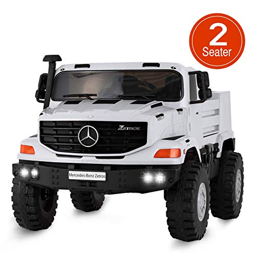 Uenjoy 2 Seater 12V Kids Ride On Car Mercedes Benz Zetros Electric Truck Motorized Vehicles w/Remote Control, Battery Powered, Storage Box, LED Lights, Suspension, Music, Horn, White ()