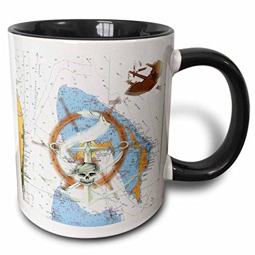 3dRose 204852_4 Print Of Bahamas Chart With Shipwreck And Ships Wheel Mug 11 oz Black