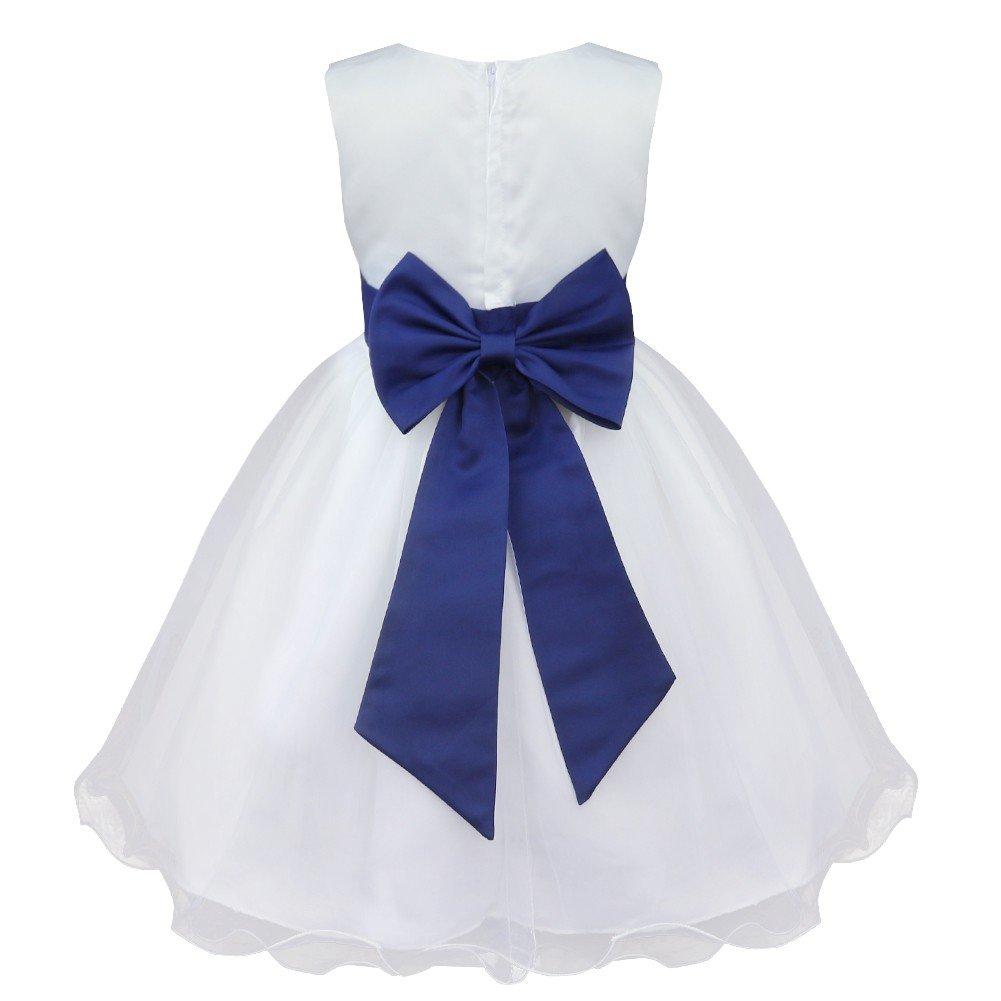 IEFIEL Vestido Blanco de Fiesta Boda Bautizo para Niñas Vestido de Princesa Niña Vestido de Flores Cumpleaños Tutú Princesa Elegante 2 Años-14 Años